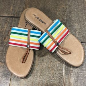 Andre Assous Multi Color Flat Sandals Size 8